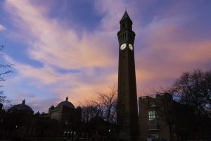 University of Birmingham, sunrise over the domes and clocktower
